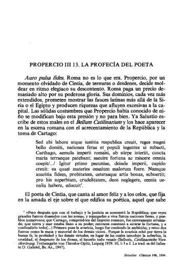 PROPERCIO 111 13. LA PROFEC~A DEL POETA ... - InterClassica