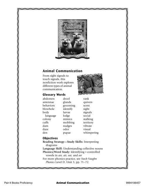 Animal Communication Product Category Leveled Reading Rigby