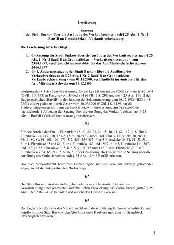 Vorkaufsrechtssatzung - Amt Märkische Schweiz
