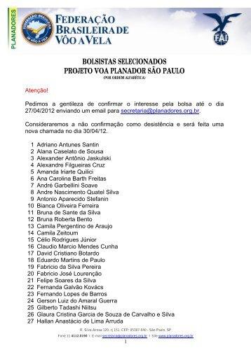 Lista geral dos bolsistas - Aeroclube de Bebedouro