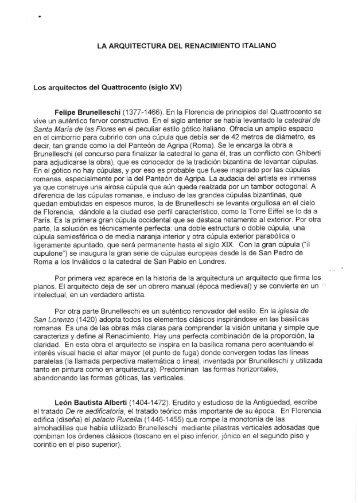 LA ARQUITECTURA DEL RENACIMIENTO ITALIANO ... - datu-basea6