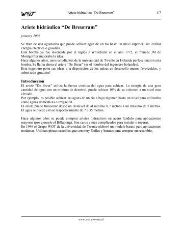"Ariete hidráulico ""De Breurram"" - WOT"