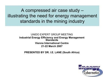 A compressed air case study – illustrating the need for ... - unido