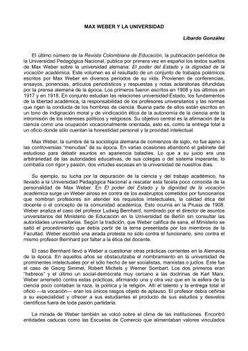 MAX WEBER Y LA UNIVERSIDAD Libardo González El último ...