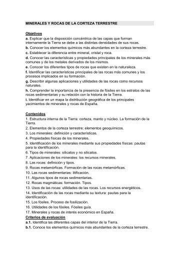 MINERALES Y ROCAS DE LA CORTEZA TERRESTRE Objetivos a ...