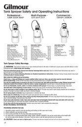 Tank Sprayer Safety and Operating Instructions - Gilmour