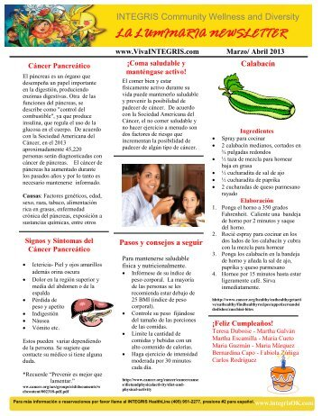 La Luminaria Newsletter Marzo/Abril 2013.