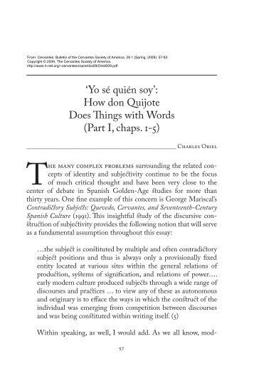 """""""Yo sé quien soy"""": How don Quijote Does Things with Words ... - H-Net"""