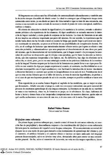 El texto literario en el aula de ELE. El «Quijote» como referencia (II)