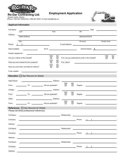 Application Form Ro Dar Contracting Ltd Grande Cache Alberta