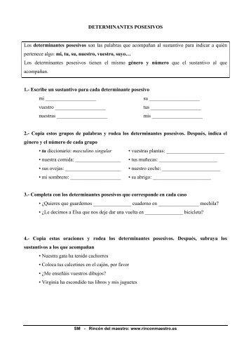 Tema 9 - Determinantes posesivos - El Rincón del Maestro
