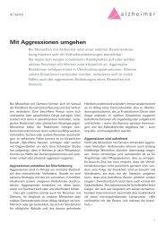 Mit Aggressionen umgehen - Schweizerische Alzheimervereinigung