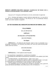 LEY DE HACIENDA DEL MUNICIPIO DE RINCON DE ROMOS, AGS.