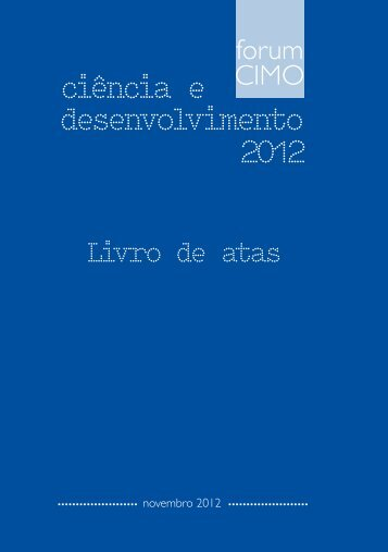 Capa Fórum CIMO 2012 Livro de Atas - Biblioteca Digital do IPB ...