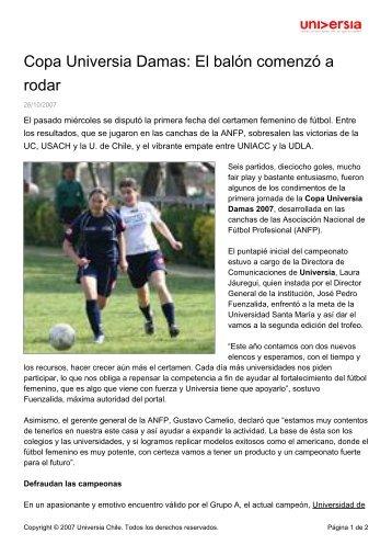 Copa Universia Damas: El balón comenzó a rodar - Noticias ...