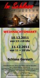 WEIHNACHTSMARKT 10.12.2011 11.12.2011 Schloss Gereuth