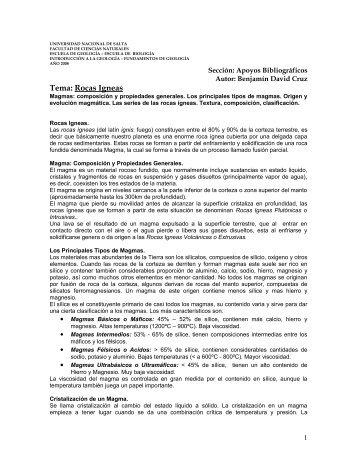 Tema: Rocas Igneas - Universidad Nacional de Salta