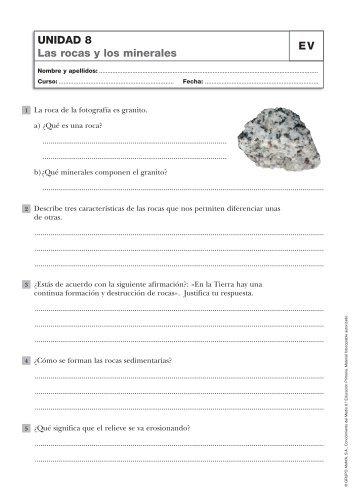UNIDAD 8 Las rocas y los minerales EV