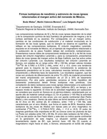 Firmas isotópicas de neodimio y estroncio de rocas ígneas ... - inageq