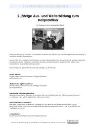 2-jährige Aus-und Weiterbildung zum Heilpraktiker Stand 03.04.2012