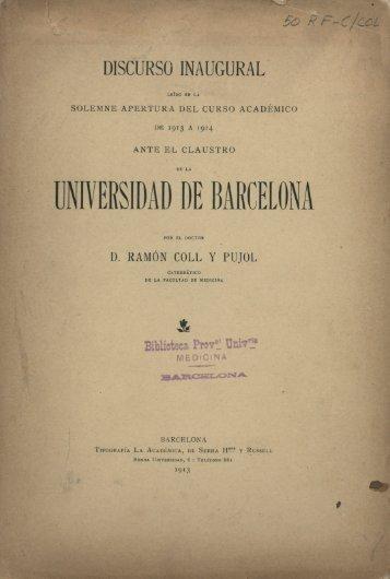 DISCURSO INAUGURAL - Universitat de Barcelona