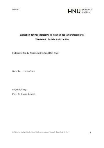 Evaluation der Modellprojekte im Rahmen des Sanierungsgebietes ...