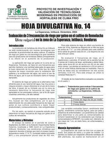 Hoja Divulgativa 14 - FHIA