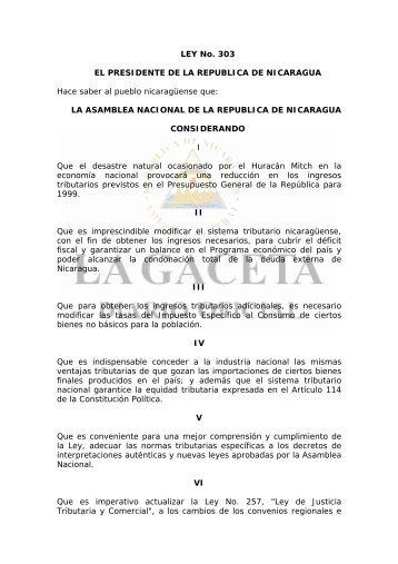 Ley 303 de Reforma a la Ley No. 257 Ley de Justicia Tributaria y ...