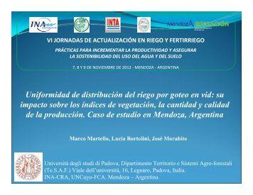 Uniformidad de distribución del riego por goteo en vid - VI Jornadas ...