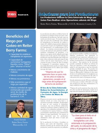 Beneficios del Riego por Goteo en Reiter Berry Farms: - Toro Media