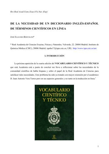De la necesidad de un diccionario inglés-espanol de términos ...