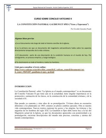 La Constitución Pastoral Gaudium Et Spes - Accion Católica Argentina