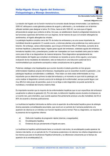 Hellp-Hígado Graso Agudo del Embarazo. Fisiopatología y Manejo ...