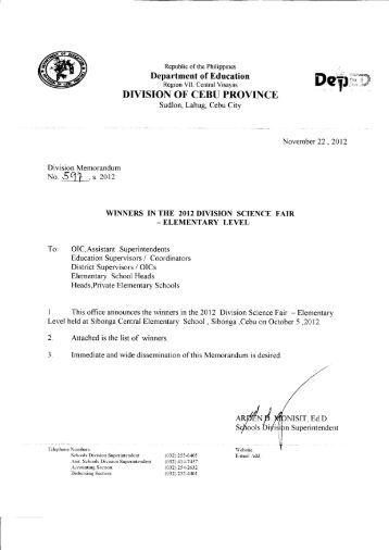Memo No.597, S. 2012 - DepEd Cebu Province
