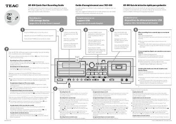 AD-800 Quick-Start Recording Guide Guide d ... - TEAC