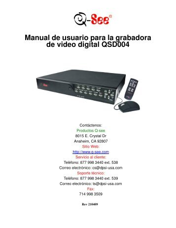 Manual de usuario para la grabadora de video digital ... - Q-See