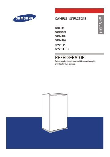 Samsung SRG-148 User Guide Manual PDF - Fridge Freezer Manual