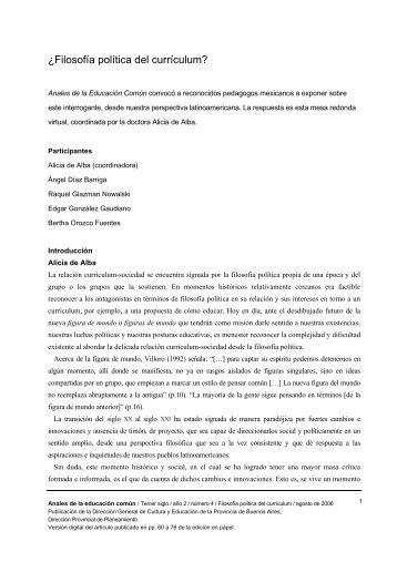 ¿Filosofía política del currículum? - Dirección General de Cultura y ...