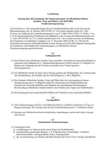 Sondernutzungssatzung - Amt Märkische Schweiz