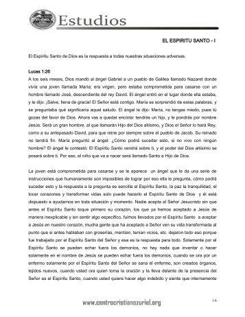 EL ESPIRITU SANTO - I - Centro Cristiano Zuriel