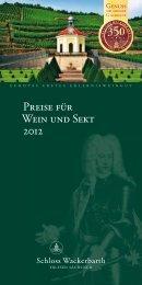 Preisliste Wein & Sekt - Schloss Wackerbarth