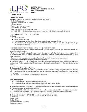 DIREITO CIVIL MÓDULO II – Matutino – 27.03.09 Prof. João ... - LFG