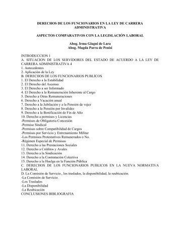 DERECHOS DE LOS FUNCIONARIOS EN LA LEY DE CARRERA ...