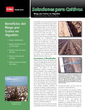 Beneficios del Riego por Goteo en Algodón: - Toro Media