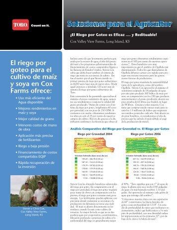 El riego por goteo para el cultivo de maíz y soya en ... - Toro Media