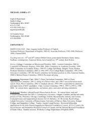 MICHAEL GORRA--CV English Department Smith College ...
