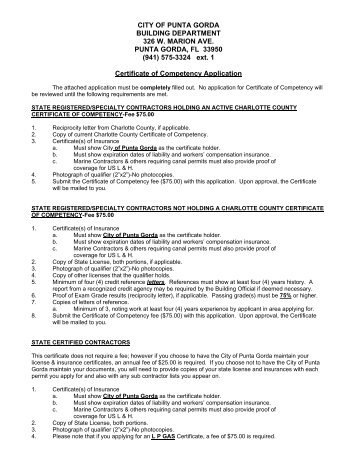 Certificate of Competency Application - City of Punta Gorda