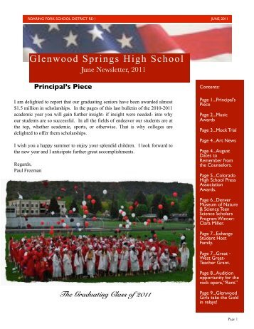 June 2011 Newsletter - Glenwood Springs High School