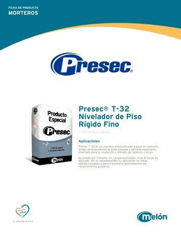 MORTEROS Presec® T-32 Nivelador de Piso Rígido Fino - Melón