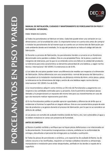 MANUAL DE INSTALACIÓN, CUIDADOS Y ... - Decor Center